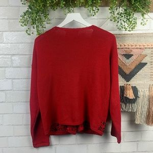 Vintage Sweaters - Vintage 90's Red Beaded Button Front Cardigan SZ S